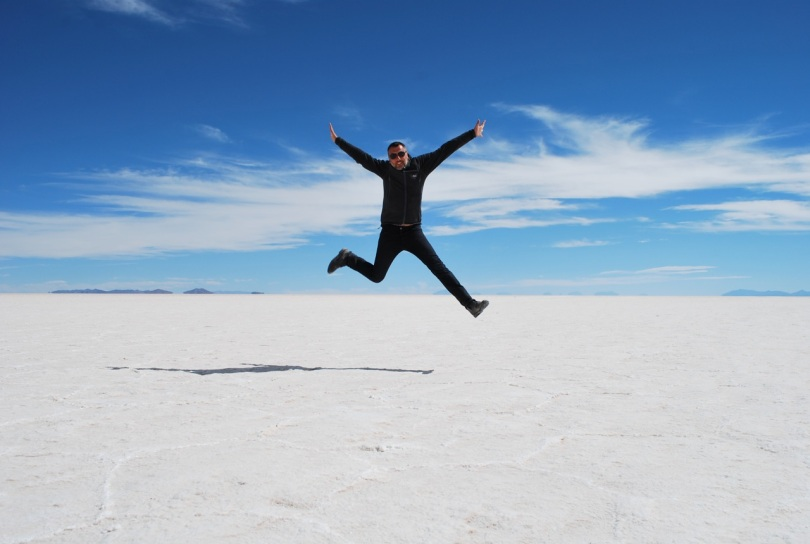 Jeremy jumps for joy, Salar de Uyuni, Bolivia.